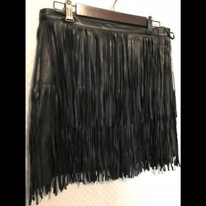 A.n.a Faux Leather Fringe Boho Moto Skirt